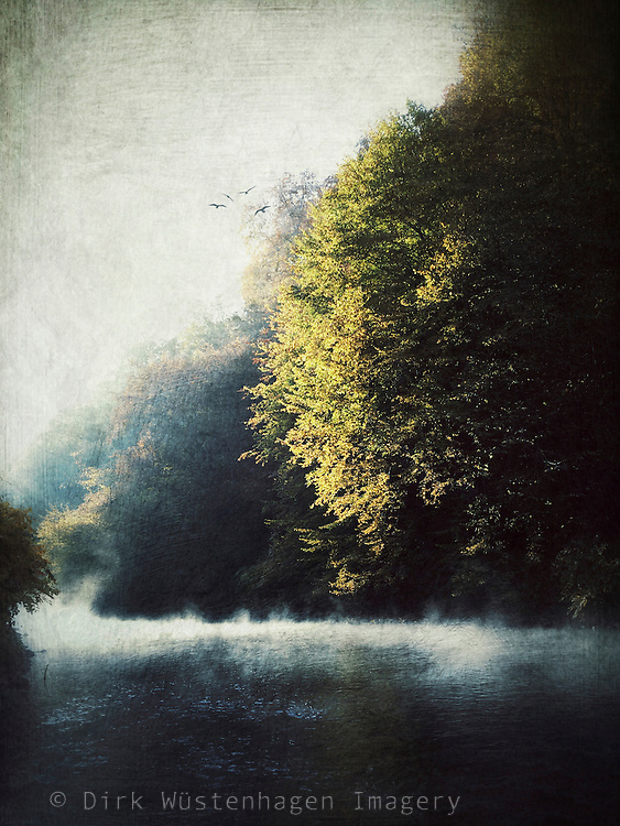 Morning fog over river Wupper on a fall morning<br /> REDBUBBLE PRINTS: http://rdbl.co/2feoMdm