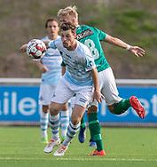Nicolas Mortensen (FC Helsingør) kæmper med Victor Guldbrandsen (Avarta) under kampen i 2. Division mellem FC Helsingør og Boldklubben Avarta den 16. august 2019, på Helsingør Ny Stadion (Foto: Claus Birch)