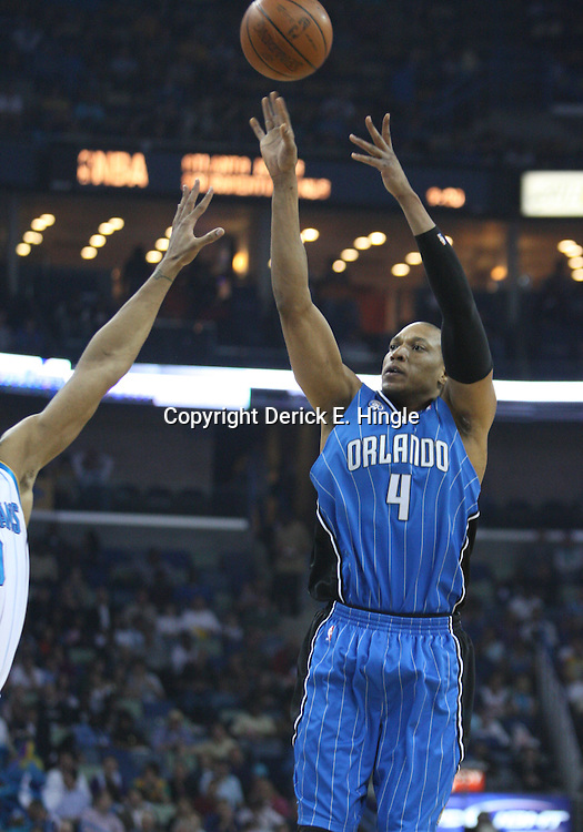 18 February 2009: Orlando Magic center Tony Battie (4) shoots during a NBA basketball game between the Orlando Magic and the New Orleans Hornets at the New Orleans Arena in New Orleans, Louisiana.