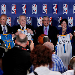 April 16, 2012; New Orleans, LA, USA; New Orleans mayor Mitch Landrieu, New Orleans Hornets and Saints owner Tom Benson, NBA commissioner David Stern, Gayle Benson and Louisiana governor Bobby Jindal at press conference announcing ownership to the Benson's and the awarding of the 2014 All Star game to the city of New Orleans at the New Orleans Arena.   Mandatory Credit: Derick E. Hingle-US PRESSWIRE