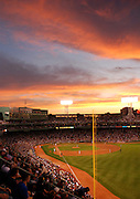 The sun sets over Fenway Park in the third inning during a Major League Baseball game where the Boston Red Sox defeated the Toronto Blue Jays, 8-3 on May 20, 2009...Photo by Kristyn Ulanday