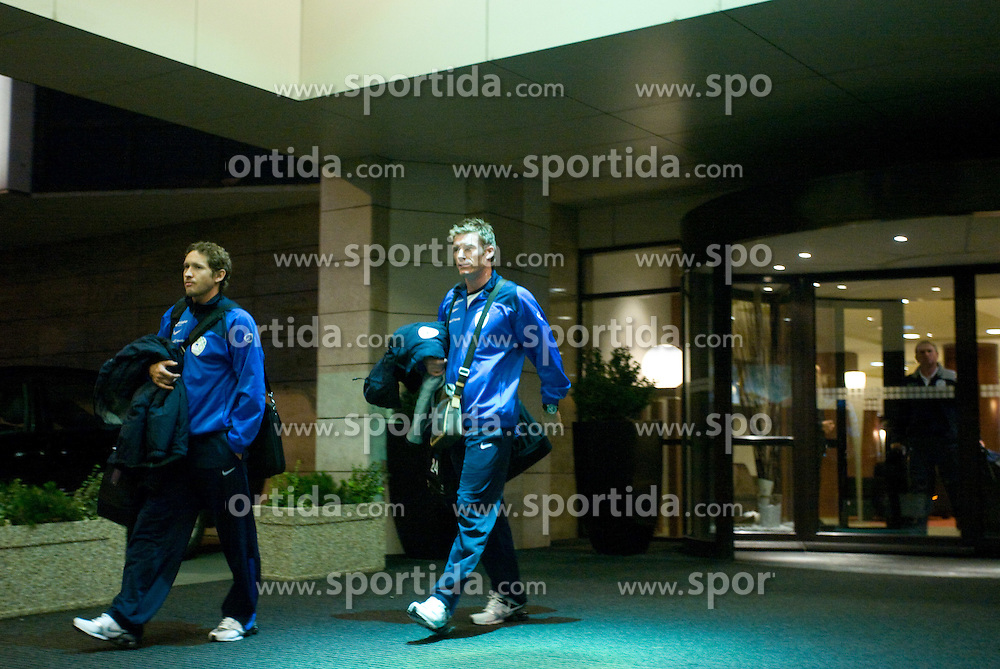 Andrej Komac and Matej Mavric of Slovenian National team at departure to the FIFA World Cup Qualifications match between Slovakia and Slovenia, on October 10, 2009, Crown Plaza Hotel, near Tehelne Pole Stadium, Bratislava, Slovakia.  (Photo by Vid Ponikvar / Sportida)