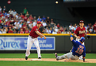 May 1 2011; Phoenix, AZ, USA; Arizona Diamondbacks second basemen Kelly Johnson (2) gets Chicago Cubs base runner Geovany Soto (18) the force out at second base as he throws the ball to first base for a double play during the ninth inning against the Chicago Cubs at Chase Field. The Diamondbacks defeated the Cubs 4-3. Mandatory Credit: Jennifer Stewart-US PRESSWIRE