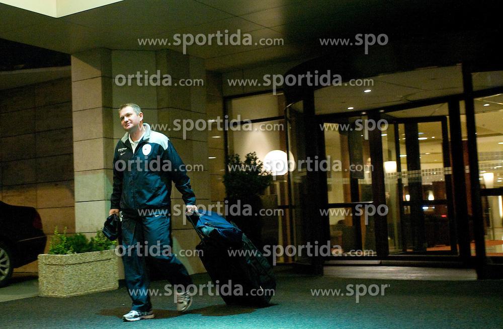 Coach of Slovenian National team Matjaz Kek at departure to the FIFA World Cup Qualifications match between Slovakia and Slovenia, on October 10, 2009, Crown Plaza Hotel, near Tehelne Pole Stadium, Bratislava, Slovakia.  (Photo by Vid Ponikvar / Sportida)