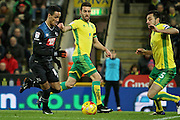 Derby County midfielder Tom Ince (10) tries to burst through the Norwich defence during  the EFL Sky Bet Championship match between Norwich City and Derby County at Carrow Road, Norwich, England on 2 January 2017. Photo by Nigel Cole.