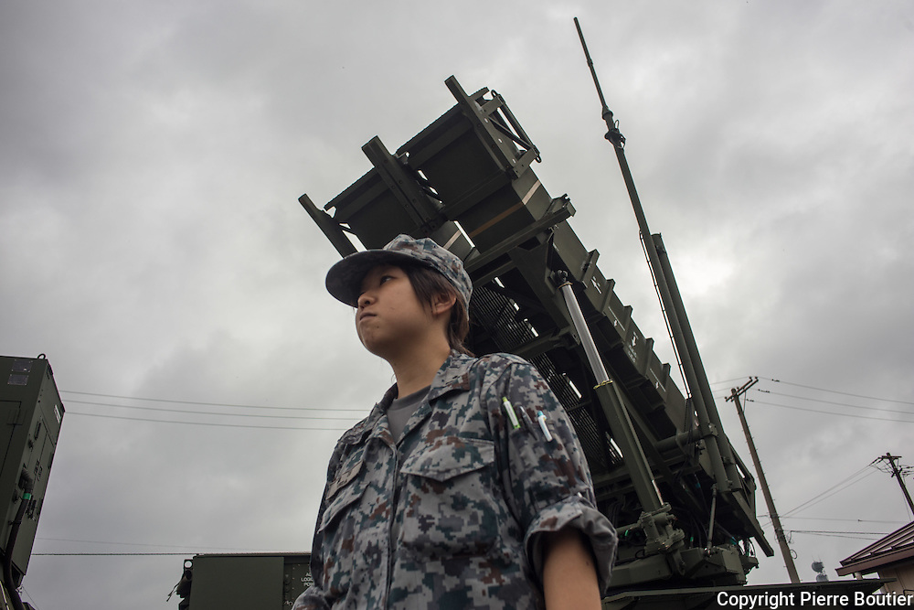 September 19,2016, Fussa, american  base ,  A japan soldier stand  near antimissile system PAC II . Japan s  to face nuclear threath from North Korea . Pierre Boutier