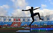 Jun 16, 2019; Rabat, Morocco; Silhouette of Luvo Manyonga (RSA) in the long jump during the Meeting International Mohammed VI d'Athletisme de Rabat at Prince Moulay Abdellah Stadium. Manyonga placed second at 26-11 1/4 (8.21m)