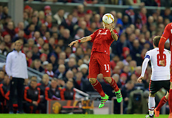 LIVERPOOL, ENGLAND - Thursday, March 10, 2016: Liverpool's Roberto Firmino in action against Manchester United during the UEFA Europa League Round of 16 1st Leg match at Anfield. (Pic by David Rawcliffe/Propaganda)