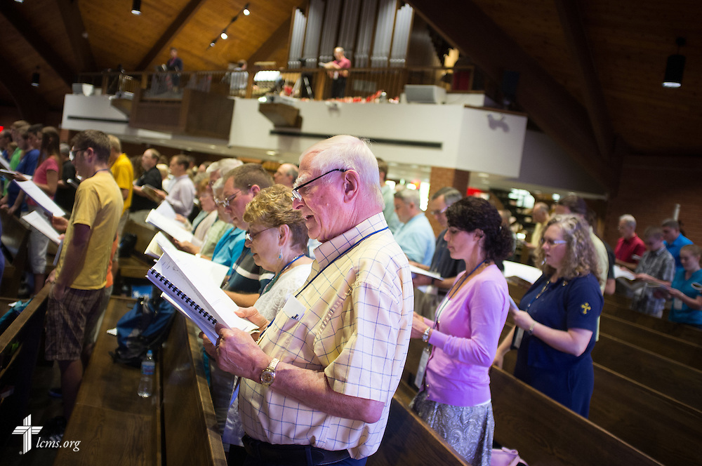 Participants sing during morning Matins at the 2014 Institute on Liturgy, Preaching and Church Music on Tuesday, July 29, 2014, at St. John Lutheran Church near Concordia University, Nebraska, in Seward, Neb. LCMS Communications/Erik M. Lunsford