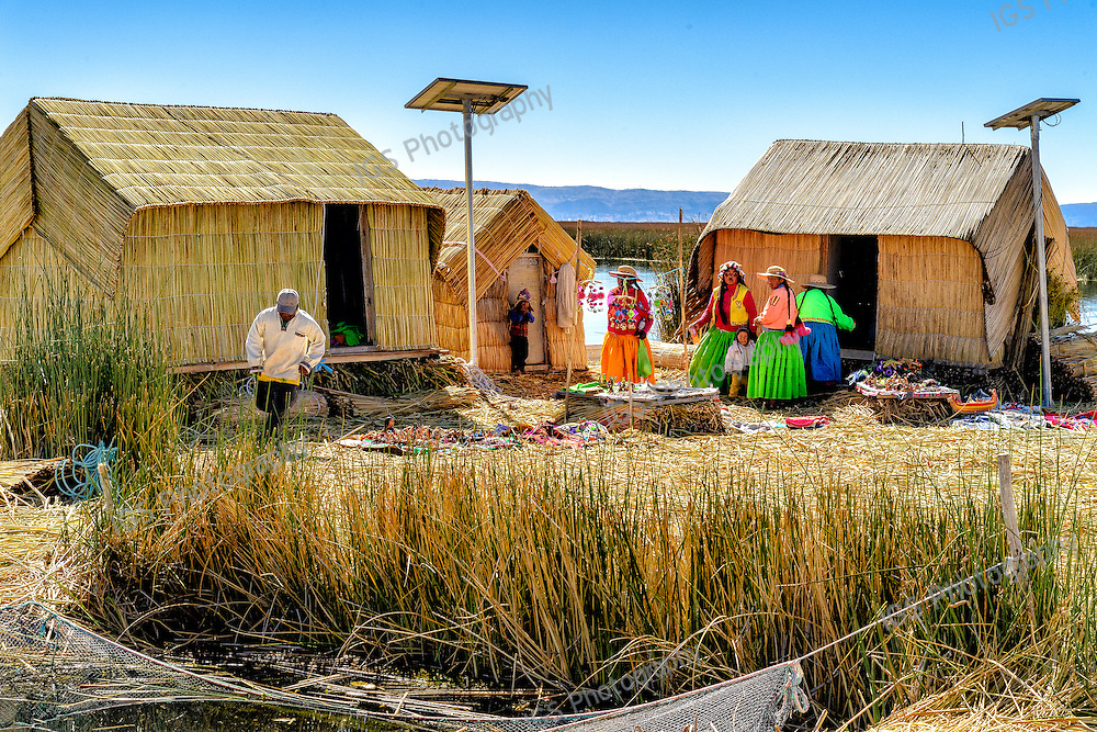 Floating islands of the Uros people, traditional reed houses