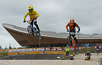 Tai Sulleyman leading in action during the Prudential RideLondon BMX Grand Prix. Prudential RideLondon 28/07/2017<br /> <br /> Photo: Bob Martin/Silverhub for Prudential RideLondon<br /> <br /> Prudential RideLondon is the world's greatest festival of cycling, involving 100,000+ cyclists – from Olympic champions to a free family fun ride - riding in events over closed roads in London and Surrey over the weekend of 28th to 30th July 2017. <br /> <br /> See www.PrudentialRideLondon.co.uk for more.<br /> <br /> For further information: media@londonmarathonevents.co.uk