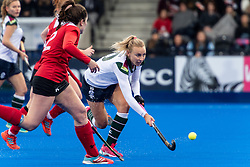 Surbiton's Hannah Martin. Holcombe v Surbiton - Investec Women's Hockey League Final, Lee Valley Hockey & Tennis Centre, London, UK on 29 April 2018. Photo: Simon Parker