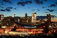 The Calgary Saddledome and the skyline at night.<br /> <br /> &copy;2010, Sean Phillips<br /> http://www.RiverwoodPhotography.com