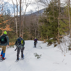 A group of hikers snowshoeing up Huckleberry Mountain in South Johnsburg, New York. Adirondack Mountains.