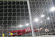 Brazil forward Neymar Jr's (10) (not in the picture)free kick is saved by Uruguay goalkeeper Martín Campaña (12) during the Friendly International match between Brazil and Uruguay at the Emirates Stadium, London, England on 16 November 2018.