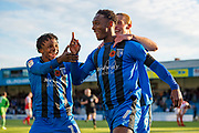 Gillingham FC forward Brandon Hanlan (7) (middle) scores a goal (1-0) and celebrates with team mates  Gillingham FC midfielder Regan Charles-Cook (11) and Gillingham FC forward Tom Eaves (9) during the EFL Sky Bet League 1 match between Gillingham and Fleetwood Town at the MEMS Priestfield Stadium, Gillingham, England on 3 November 2018.<br /> Photo Martin Cole