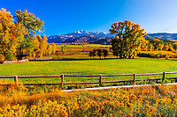 Fall color, ranch land, Ridgway, Colorado USA.