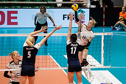 16.05.2019, Montreux, SUI, Montreux Volley Masters 2019, Deutschland vs Polen, im Bild Louisa Lippmann (Germany #11) attacking // during the Montreux Volley Masters match between Germany and Poland in Montreux, Switzerland on 2019/05/16. EXPA Pictures © 2019, PhotoCredit: EXPA/ Eibner-Pressefoto/ beautiful sports/Schiller<br /> <br /> *****ATTENTION - OUT of GER*****