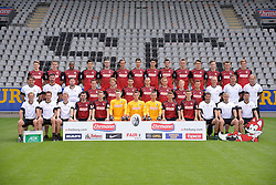 21.07.2015, Schwarzwald Stadion, Freiburg, GER, 2. FBL, SC Freiburg, Fototermin, im Bild Obere Reihe von links: Lukas Kuebler, Christian Guenter, Karim Guede, Mensur Mujda, Marc Torrejon, Julian Schuster, Tim Kleindienst, Amir Falahen, Stefan Mitrovic, Nils Petersen, Marc-Oliver Kempf, Florian Kath, Maximilian Philipp, Jonas Foehrenbach, Mittlere Reihe v.l.: Mannschaftsarzt Dr. Gerrit Bode, Mannschaftsarzt Dr. Thorsten Hammer, Zeugwart Felix Isele, Sascha Riether, Vegar Eggen Hedenstad, Vincenzo Grifo, Nicolas Hoefler, Caleb Stanko, Mats Moller-Dahli, Amir Abrashi, Trainer Christian Streich, Co-Trainer Lars Vossler, Co-Trainer Patrick Baier, Untere Reihe v.l.: Physiotherapeut Uwe Vetter, Physiotherapeut Markus Behrens, Physiotherapeut Torge Schwarz, Marco Hingerl, Immanuel Hoehn, Konstantin Fuhry, Alexander Schwolow, Patric Klandt, Mike Frantz, Lucas Hufnagel, Torwarttrainer Andreas Kronenberg, Athletiktrainer Simon Ickert, Busfahrer Stefan Spohn // during the official Team and Portrait Photoshoot of German 2nd Bundesliga Club SC Freiburg at the Schwarzwald Stadion in Freiburg, Germany on 2015/07/21. EXPA Pictures © 2015, PhotoCredit: EXPA/ Eibner-Pressefoto/ Laegler<br /> <br /> *****ATTENTION - OUT of GER*****