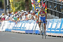 (Geelong, Australia---03 October 2010) Jackson Rodriguez of Venezuela racing in the elite men's road race in the 2010 UCI Road World Championships, held in Geelong, Victoria, Australia. Photograph 2010 copyright Sean Burges / Mundo Sport Images