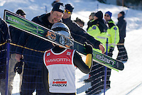 A young racer foreruns the World Cup Ski Jumping competition at Whistler Olympic Park on Sunday January 25, 2009