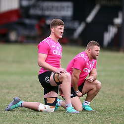 Jacques Vermeulen of the Cell C Sharks with Akker van der Merwe of the Cell C Sharks during the cell c sharks training session at  Jonsson Kings Park Stadium ,Durban.South Africa. 28,06,2018 Photo by Steve Haag)