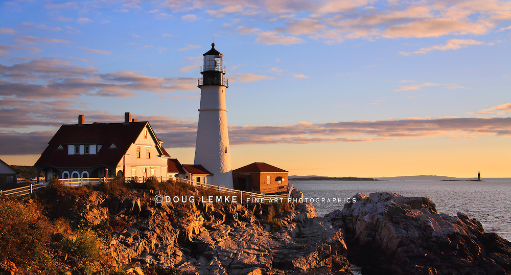 One Of The Most Iconic And Beautiful Lighthouses, The Portland Head Light At Sunrise, Portland, Maine, USA