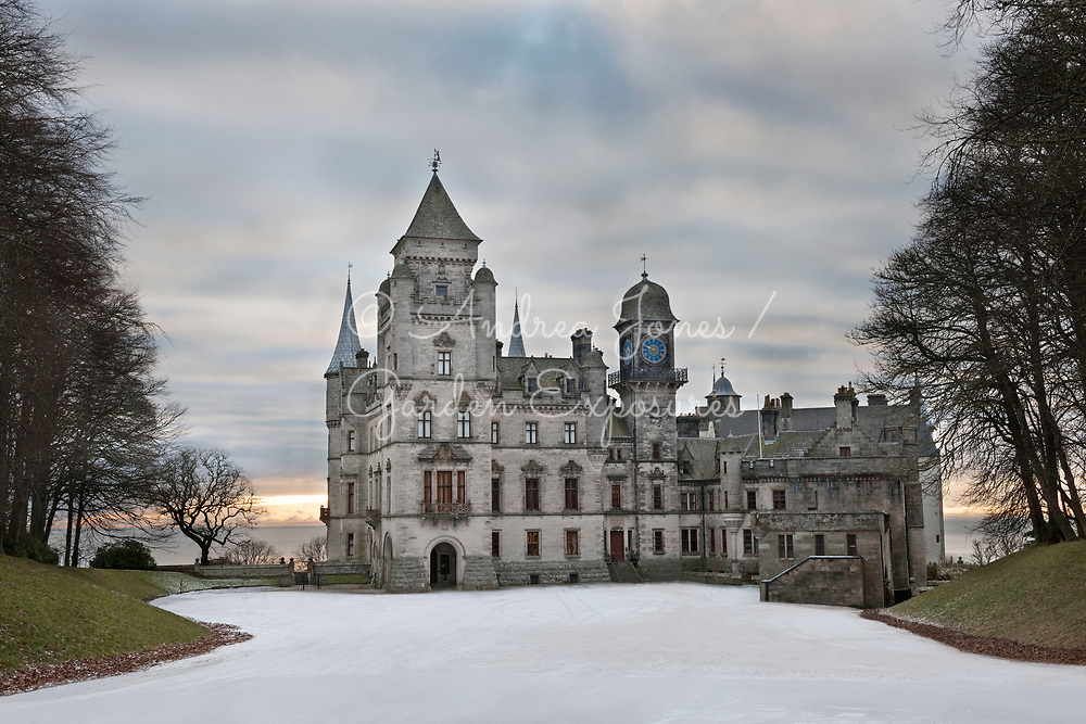 Dunrobin Castle, driveway and parking area with Ulmus minor var. vulgaris (elm) tree on left<br /> <br /> <br /> Dunrobin Castle Sutherland, Scotland