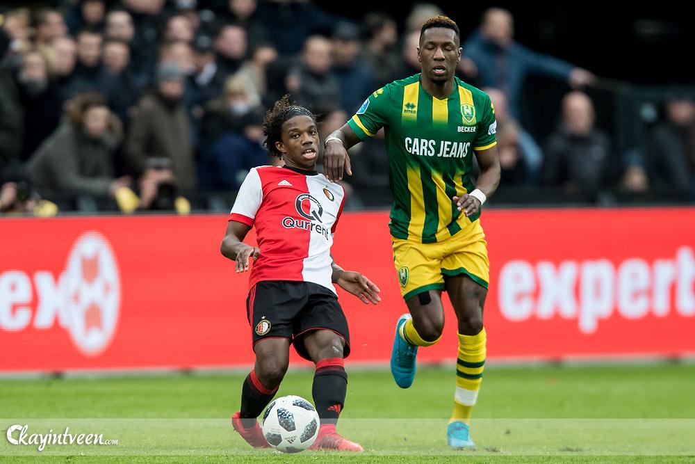 ROTTERDAM - Feyenoord - ADO Den Haag , Voetbal , Seizoen 2017/2018 , Eredivisie , Stadion Feijenoord de Kuip , 28-01-2018 , Feyenoord speler Tyrell Malacia (l) in duel met ADO Den Haag speler Sheraldo Becker (r)