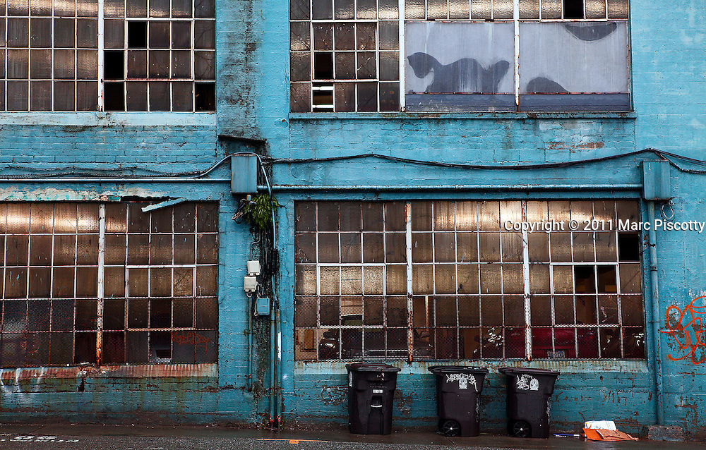 "SHOT 1/21/11 1:14:31 PM - A back alley in the Belltown area of Seattle, Washington. Seattle is the northernmost major city in the contiguous United States, and the largest city in the Pacific Northwest and in the state of Washington. A seaport situated on a narrow isthmus between Puget Sound (an arm of the Pacific Ocean) and Lake Washington, about 100 miles (160 km) south of the Canada - United States border, it is named after Chief Sealth ""Seattle"", of the Duwamish and Suquamish native tribes. Seattle is the center of the Seattle-Tacoma-Bellevue metropolitan statistical area, the 15th largest in the United States, and the largest in the northwestern United States. Seattle is the county seat of King County and is the major economic, cultural and educational center in the region. (Photo by Marc Piscotty / © 2011)"