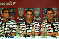 LIVERPOOL, ENGLAND - Thursday, July 10, 2003: Liverpool FC's new signings Harry Kewell (l), Anthony Le Tallec (c) and Steve Finnan (r) at a press conference at Anfield. (Pic by David Rawcliffe/Propaganda)