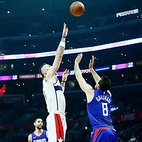 09 December 2017: Washington Wizards center Marcin Gortat (13) goes for the baby hook over LA Clippers forward Danilo Gallinari (8) during the LA Clippers 113-112 victory over the Washington Wizards, at the Staples Center, Los Angeles, California, USA.