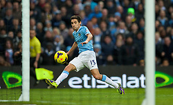 14.12.2013, Etihad Stadium, Manchester, ENG, Premier League, Manchester City vs FC Arsenal, 16. Runde, im Bild Manchester City's Jesus Navas sees his shot hit the post against Arsenal // during the English Premier League 16th round match between Manchester City and Arsenal FC at the Etihad Stadium in Manchester, Great Britain on 2013/12/14. EXPA Pictures © 2013, PhotoCredit: EXPA/ Propagandaphoto/ David Rawcliffe<br /> <br /> *****ATTENTION - OUT of ENG, GBR*****