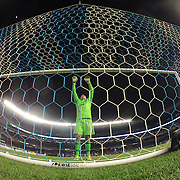 Goalkeeper Joe Bendik, Orlando, stretches before the start of the second half during the New York City FC Vs Orlando City, MSL regular season football match at Yankee Stadium, The Bronx, New York,  USA. 28th March 2016. Photo Tim Clayton