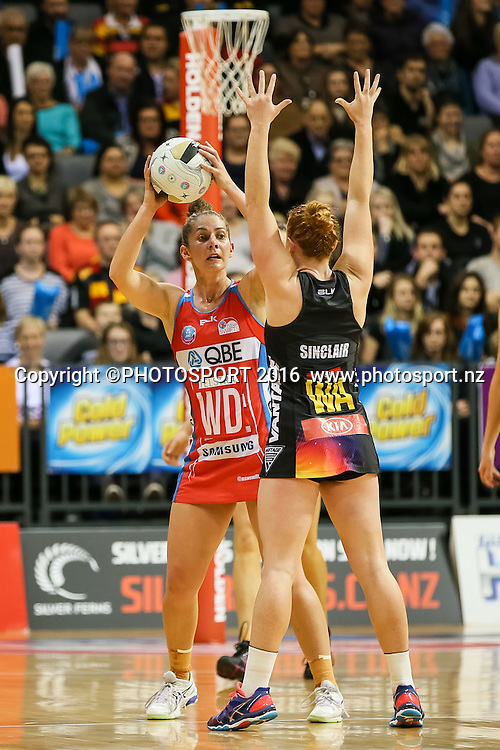 NSW Swift's Abbey McCulloch looks to pass past Waikato BOP's Samantha Sinclair during the ANZ Netball Championship semi final between the Waikato BOP Magic and the NSW Swifts, played at Claudelands Arena, Hamilton, New Zealand on Monday 25 July 2016.  Copyright Photo: Bruce Lim / www.photosport.nz