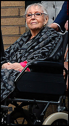 Rolf Harris wife Alwen Hughes arriving at court in her wheelchair with Rolf Harris   as they both arrive at Southwark Crown Court in London, Tuesday, 14th January 2014. Picture by Andrew Parsons / i-Images