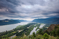 Columbia River Gorge Scenic Vista from Crown Point Vista House, Oregon