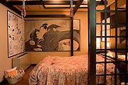 ADONIS Love Hotel in Osaka Ikutamateramachi area. Japanese erotic painting (Shunga) room.