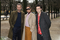 David Beckham, Victoria Beckham and Brooklyn Beckham attending the Louis Vuitton Men Menswear Fall/Winter 2018-2019 show as part of Paris fashion week in Paris, France on January 18, 2018. Photo by Jerome Domine/ABACAPRESS.COM