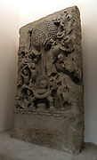 The attack of Mara: 'Death, ' Mara is the personification of death and tempter of the future Buddha. The Amaravati School (1st century BC - 3rd century AD) marmoreal limestone sculpture from Andhra Pradesh, India (South)