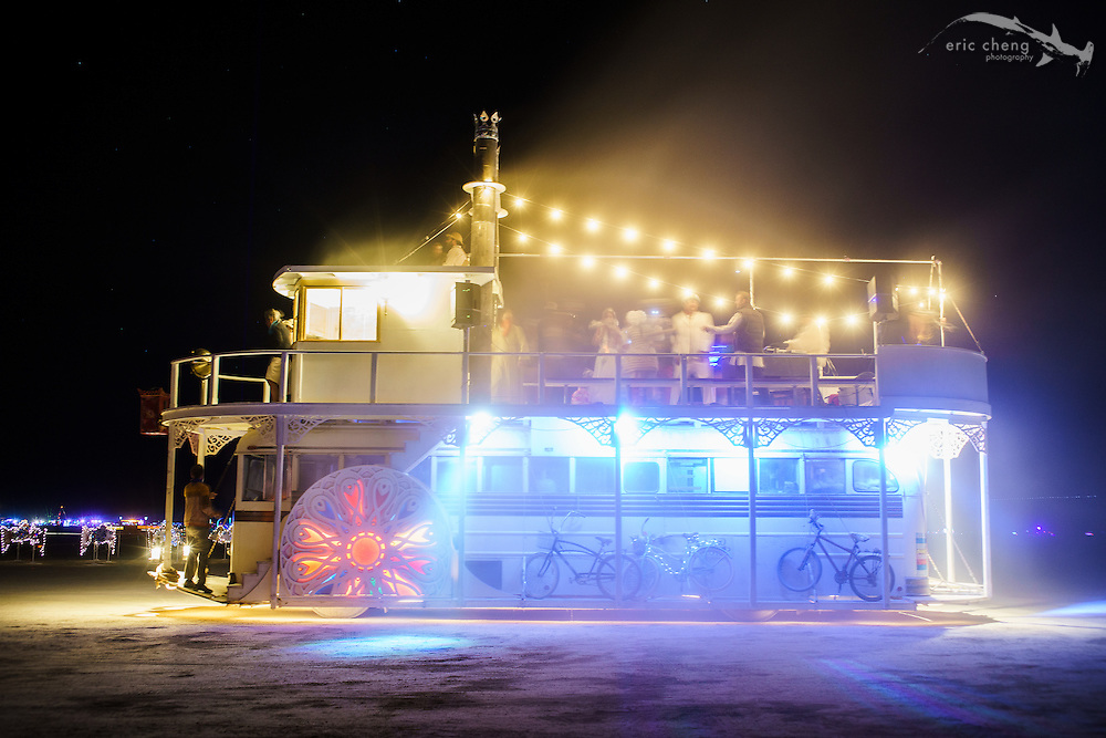 Art car in dust. Burning Man 2014.