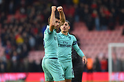 Sokratis Papastathopoulos (5) of Arsenal celebrates the 2-1 win over Bournemouth at full time during the Premier League match between Bournemouth and Arsenal at the Vitality Stadium, Bournemouth, England on 25 November 2018.