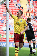 Burnley striker, Sam Vokes (09) celebrating scoring first goal of game 0-1 during the Sky Bet Championship match between Charlton Athletic and Burnley at The Valley, London, England on 7 May 2016. Photo by Matthew Redman.