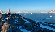 Evening view from Useful Island towards Graham Land and the Gerlach Streith, Antarctic Peninsula, Antarctica