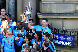 Burnley's Sam Vokes lifts the SkyBet Championship Trophy - Mandatory by-line: Matt McNulty/JMP - 09/05/2016 - FOOTBALL - Burnley Town Hall - Burnley, England - Burnley FC Championship Trophy Presentation