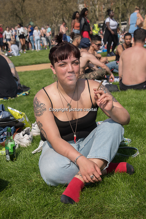 London,UK, 20 April 2018: London 420 Rally - Hyde Park Pro Cannabis Legaslastion Rally