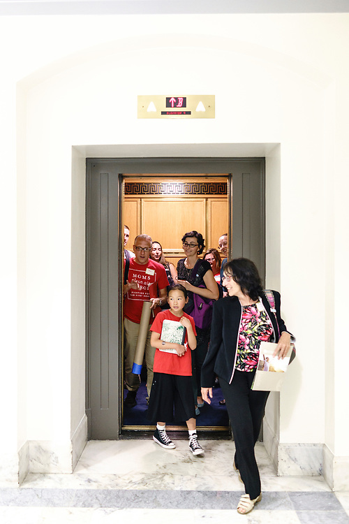 Washington, D.C. - June 13, 2017: Constituents from Colorado exit an elevator in the the Russell Senate Office Building in Washington D.C. Tuesday June 13, 2017, in between Earthjustice Clean Air Fly-in meetings.<br /> <br /> <br /> <br /> CREDIT: Matt Roth for Earthjustice
