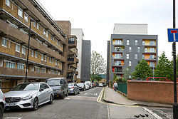 © Licensed to London News Pictures. 27/04/2019. London, UK. A general view of the residential area on Crowder Street, Whitechapel in East London as police launch a murder investigation after the body of a 35 year old woman was discovered inside a flat at around 1.30pm on Friday 26 April 2019. Police officers attended the address with the London Ambulance Service after reports of concern for the resident. A 37 years old has been arrested on suspicion of murder. Photo credit: Dinendra Haria/LNP