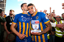 Ben Godfrey and Matthew Sadler of Shrewsbury Town celebrate winning the playoff semi-final against Charlton Athletic - Mandatory by-line: Robbie Stephenson/JMP - 13/05/2018 - FOOTBALL - Montgomery Waters Meadow - Shrewsbury, England - Shrewsbury Town v Charlton Athletic - Sky Bet League One Play-Off Semi Final