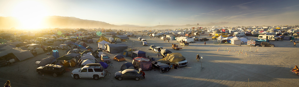 BLACK ROCK CITY, NV:  A panoramic view at sunset of Black Rock City, Nevada.